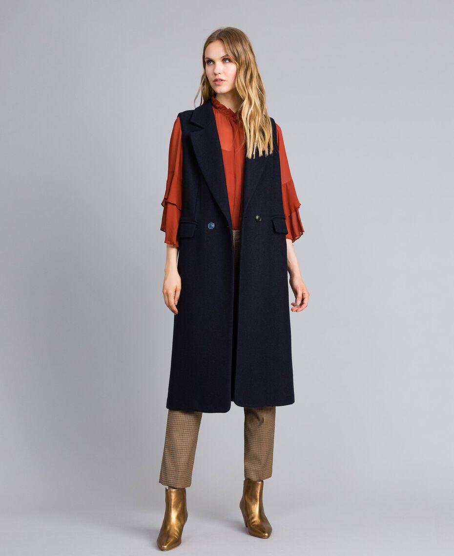 Gilet long en drap Bleu Nuit Femme TA821F-01
