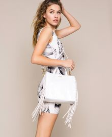 Medium leather shopper with fringes Nougat Beige Woman 201TO8141-0S