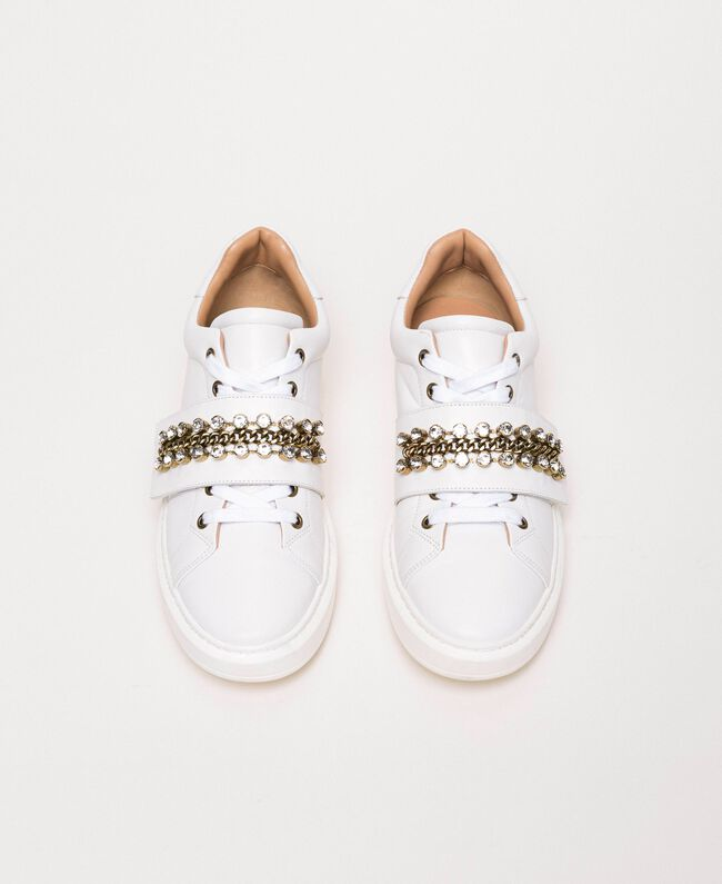 Leather trainers with bezels White Woman 201TCP094-05