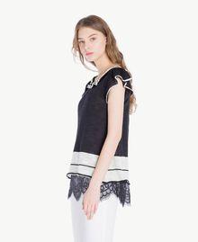 Top dentelle Bicolore Noir / Blanc Parchemin Femme YS83BB-02