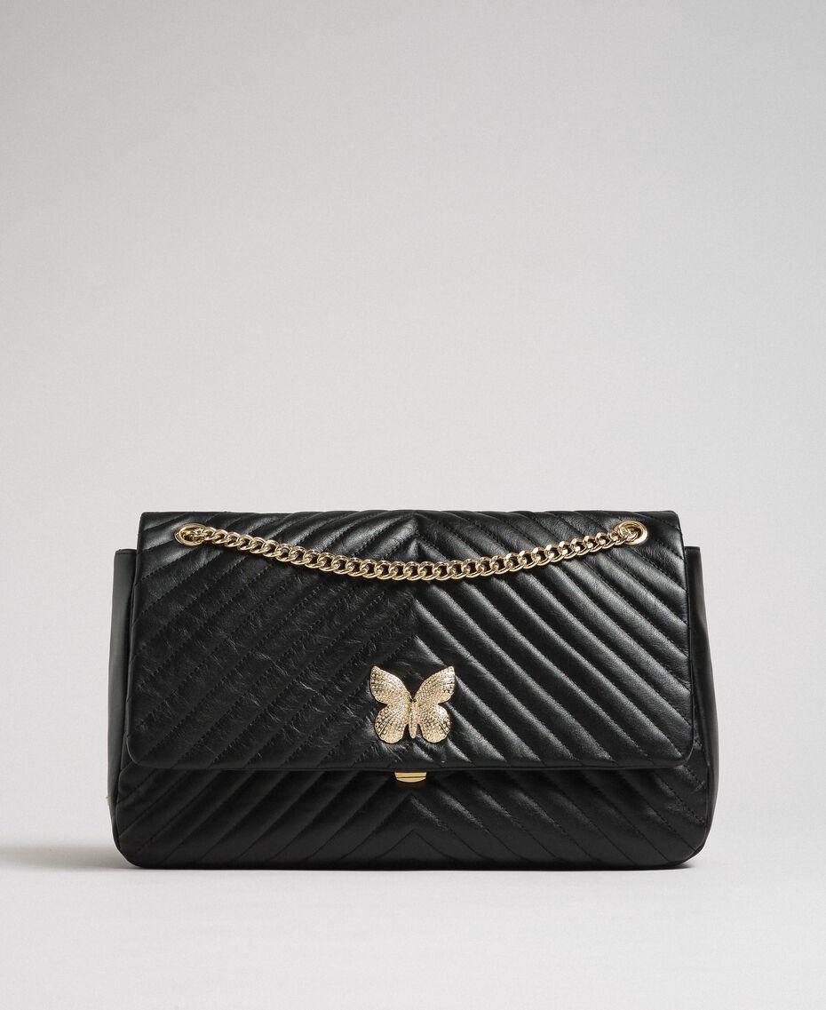 Grand sac à bandoulière en cuir matelassé Noir Femme 192TA7101-02