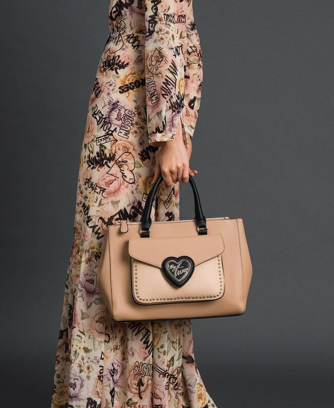 Two-tone faux leather shopper Irish Cream / Blossom Pink Woman 192MA7100-0S