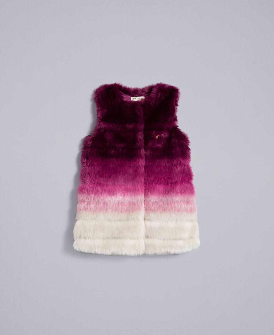 """Ombre faux fur gilet """"Grape"""" Purple / """"Bougainvillea"""" Pink Gradient Print Child GA82ZA-01"""