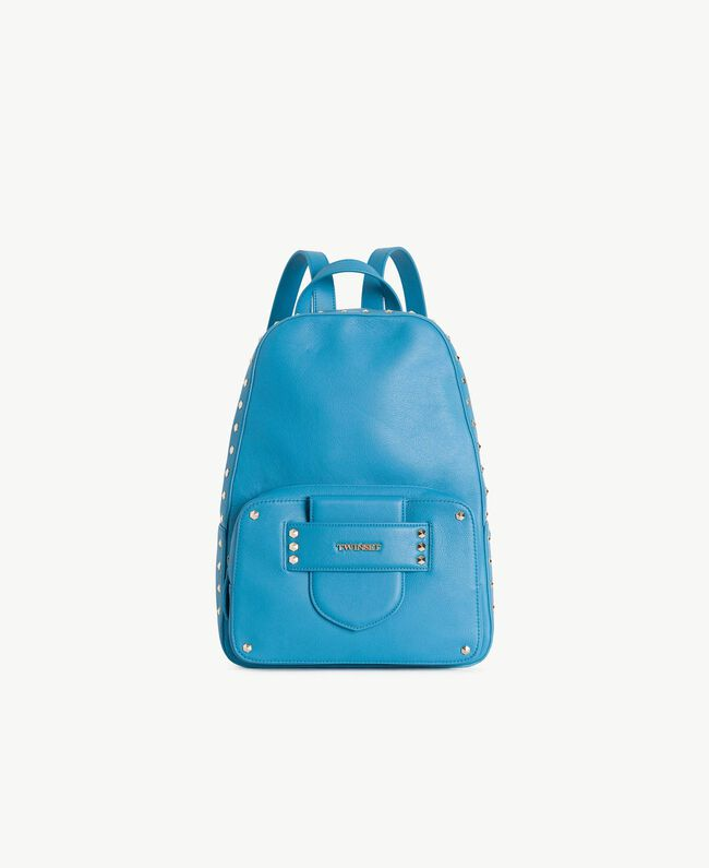 "TWINSET Studded backpack ""Gentian"" Blue Woman OS8TBA-01"
