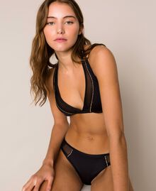 Triangle bikini top with tulle Black Woman 201LBM733-01