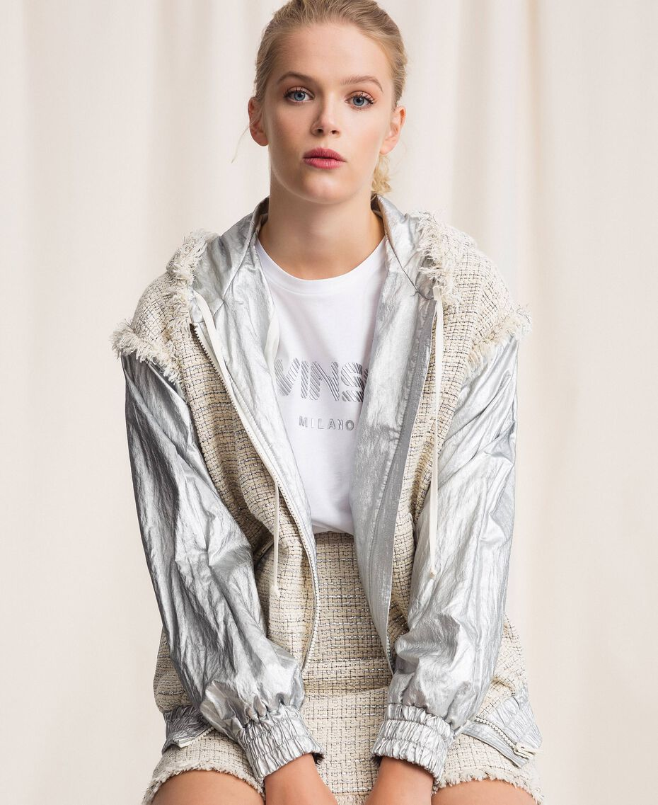 Laminated bomber jacket with bouclé fabric Multicolour Ivory / Silver Grey Woman 201TP2220-01