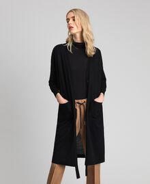 Maxicardigan aus Wollmischung Schwarz Frau 192ST3161-01