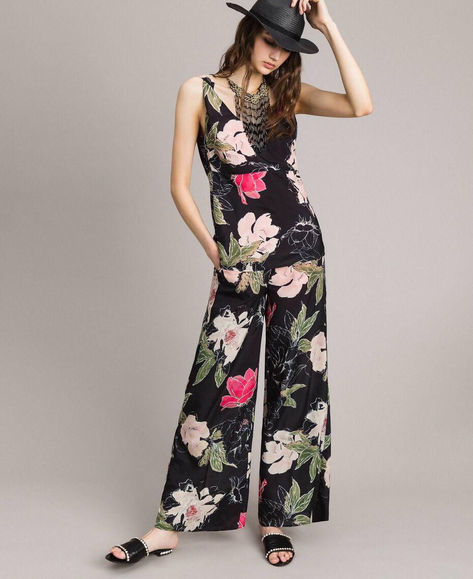 Floral print crêpe de Chine trousers All Over Black Flowers Print Woman 191MT2212-0T