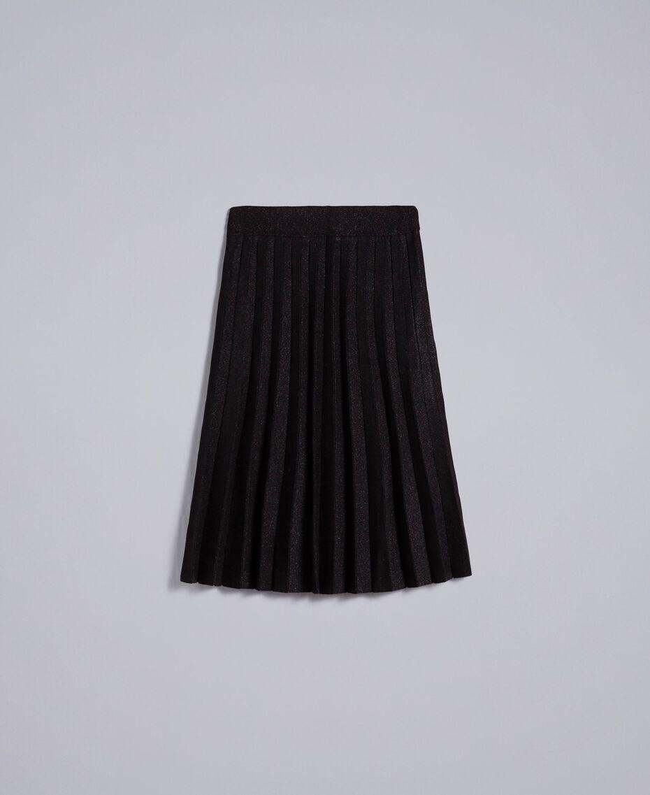 Gonna longuette in maglia plissé lurex Nero Lurex Donna PA83CD-0S