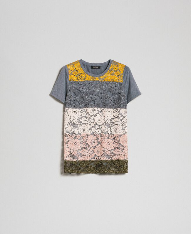 T-shirt with colour block lace Multi-colour Lace Woman 192MP2294-0S