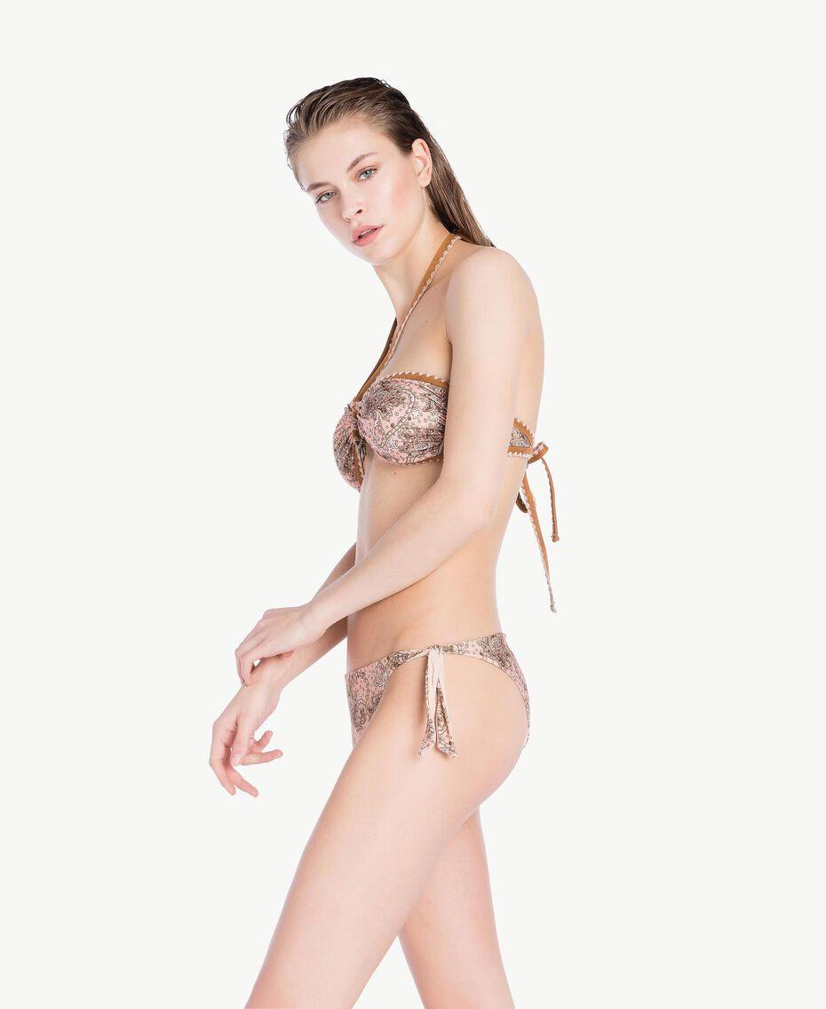 Bikini-Tanga mit Print Paisleyprint Vegas Pink Frau BS8G33-03