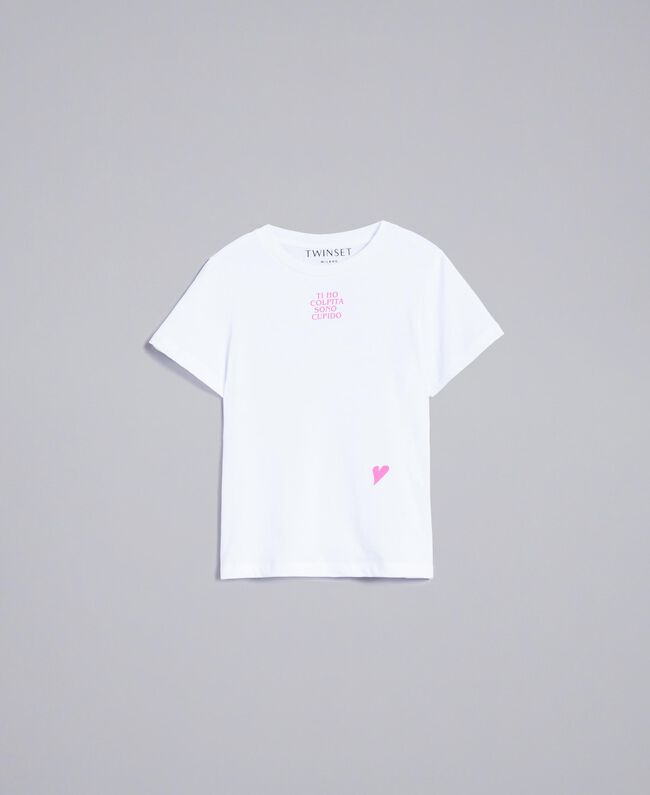 T-shirt unisexe junior en coton avec imprimé Blanc Enfant QA8TMP-01