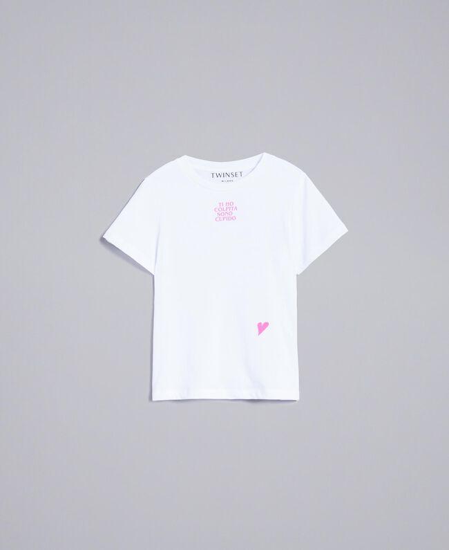 T-shirt unisex junior in cotone con stampa Bianco Bambina QA8TMP-01