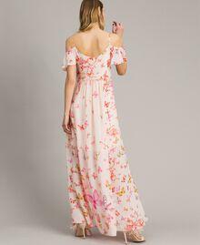 Robe longue en georgette à imprimé papillon Imprimé Papillon Rose Mixte Femme 191TT2391-03