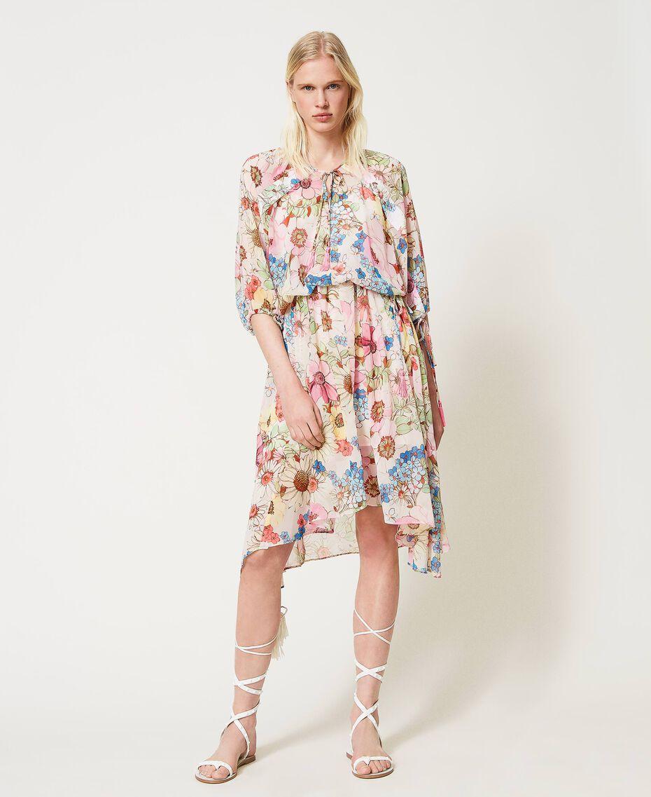 "Floral print midi dress ""Fuchsia Pink"" Large Floral Print Woman 211LM2JHH-02"