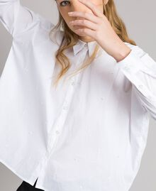 Рубашка из поплина с вышивкой под горошек Сливочный White женщина 191MP2194-04