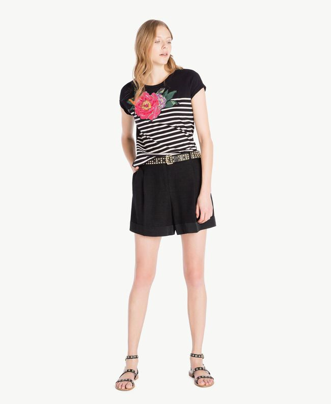 Striped T-shirt Black Woman TS829U-05