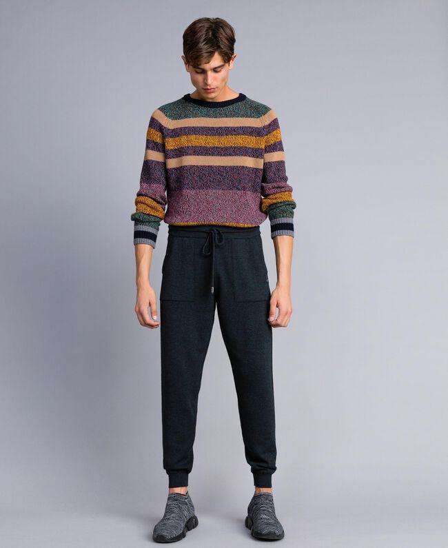 Pantalon de jogging en coton et laine Bicolore Bleu Nuit / Gris Anthracite Homme UA83BC-01