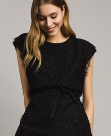 Maxi t-shirt with lace and belt Black Woman 191ST2061-05