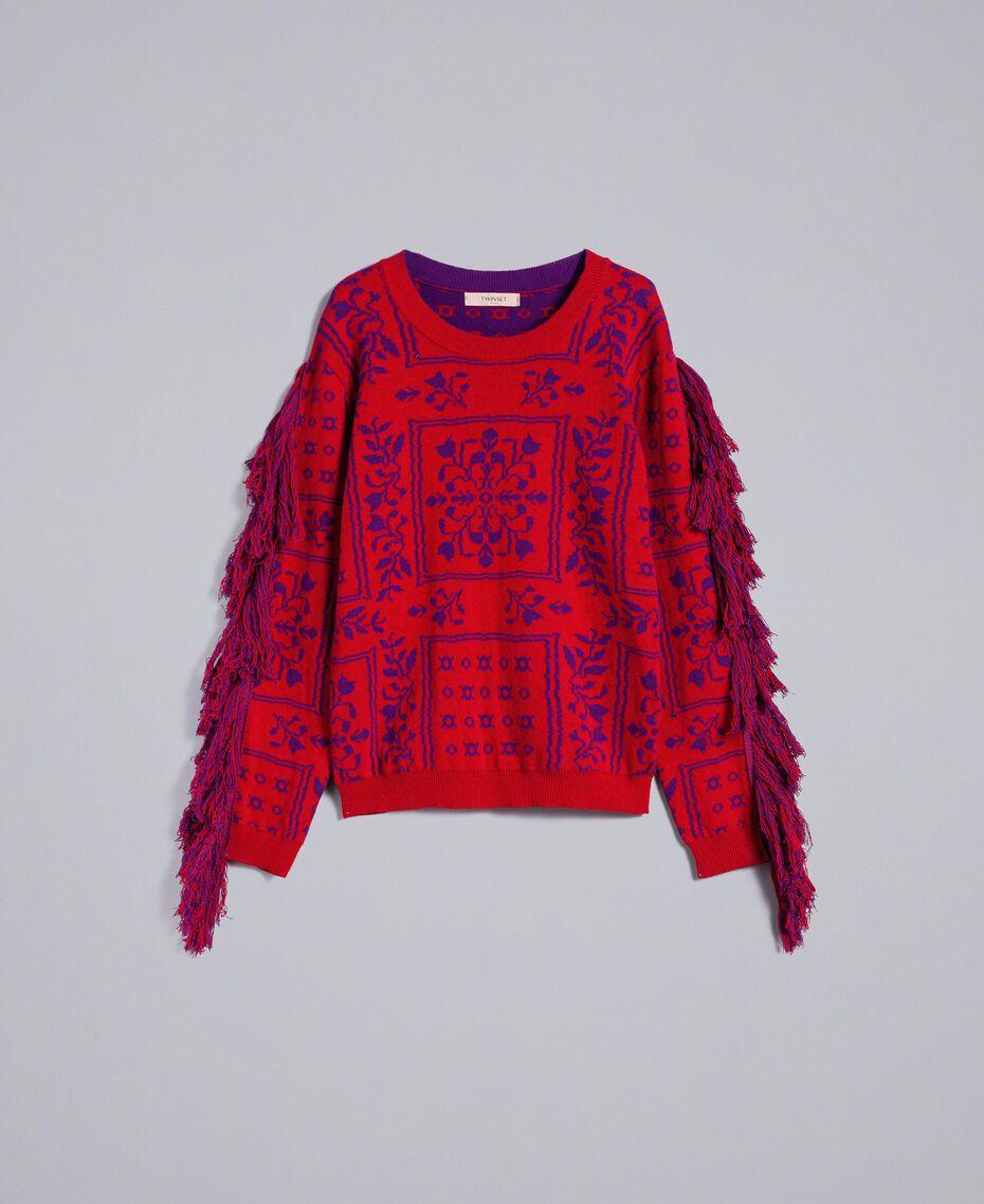 Maxi pull jacquard à franges Bicolore Violet Mûre / Rouge Cerise Femme QA8TBN-0S