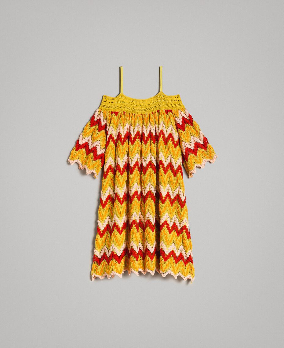 Multicolour jacquard dress Multicolour Jacquard Child 191GJ2270-01
