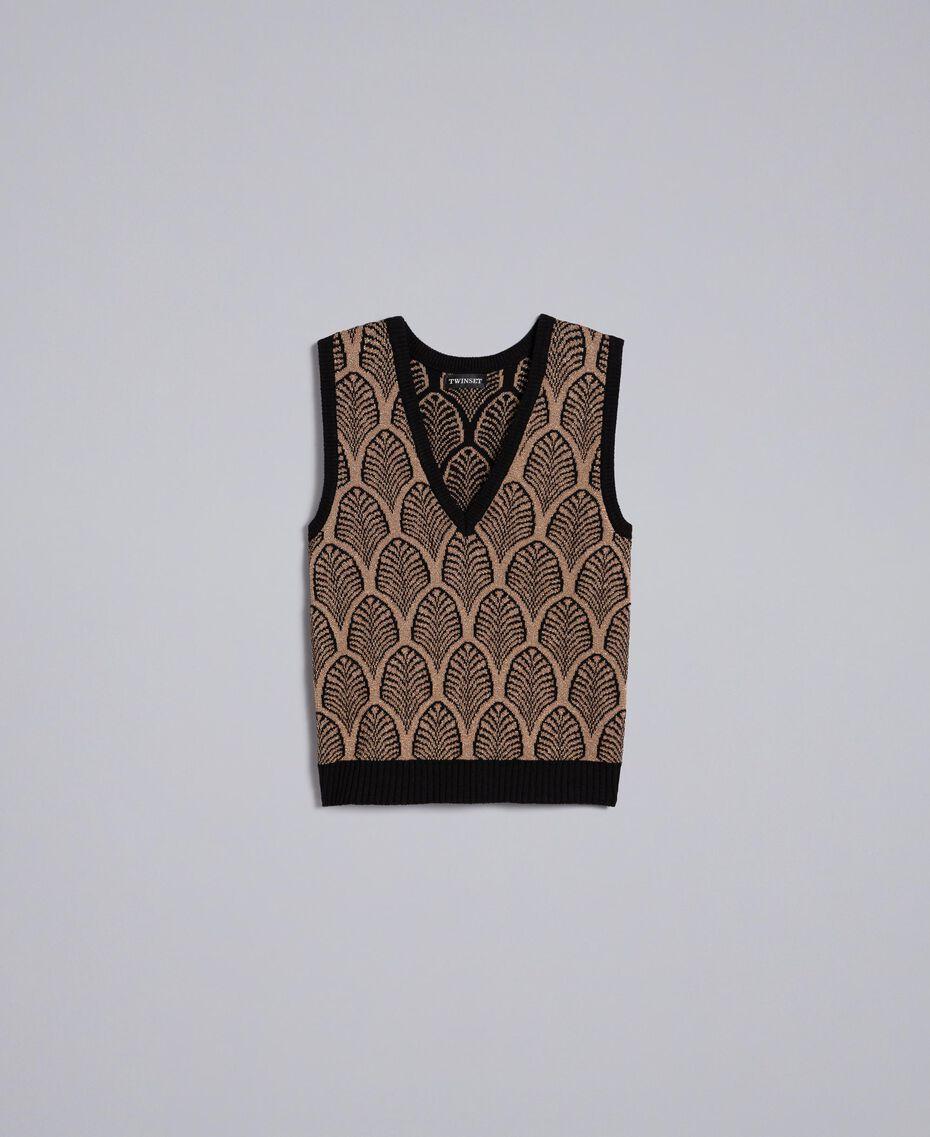 Wool blend and lurex jacquard gilet Black Gold Lurex Jacquard Woman TA8321-0S