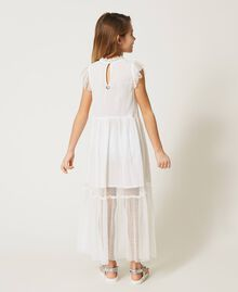 Tulle and muslin dress with embroidery Off White Child 211GJ2Q3B-03