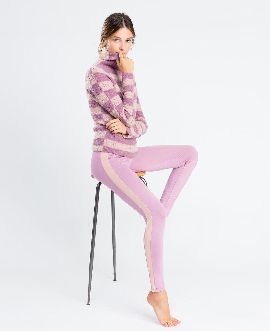 Pull en laine mélangée rayée Bicolore Rose Léger/ Rose Baroque Femme LA8PCC-02