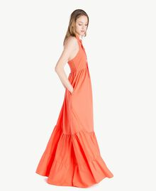 Langes Kleid aus Popeline Orange Frau TS821C-02