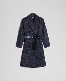 Chevron wool cloth coat with belt Black Jacquard / Night Blue Woman 192ST2100-0S