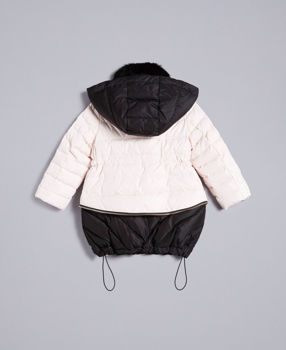 "Two-tone padded jacket Bicolour ""Blush"" Pink / Black Child FA82AN-0S"