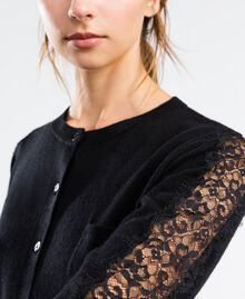 Viscose blend cardigan with lace Black Woman LA8QBB-04