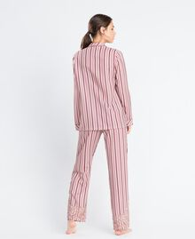 """Striped pyjamas with lace Multicolour """"Baroque Rose"""" Pink Stripe Woman IA8DNN-03"""