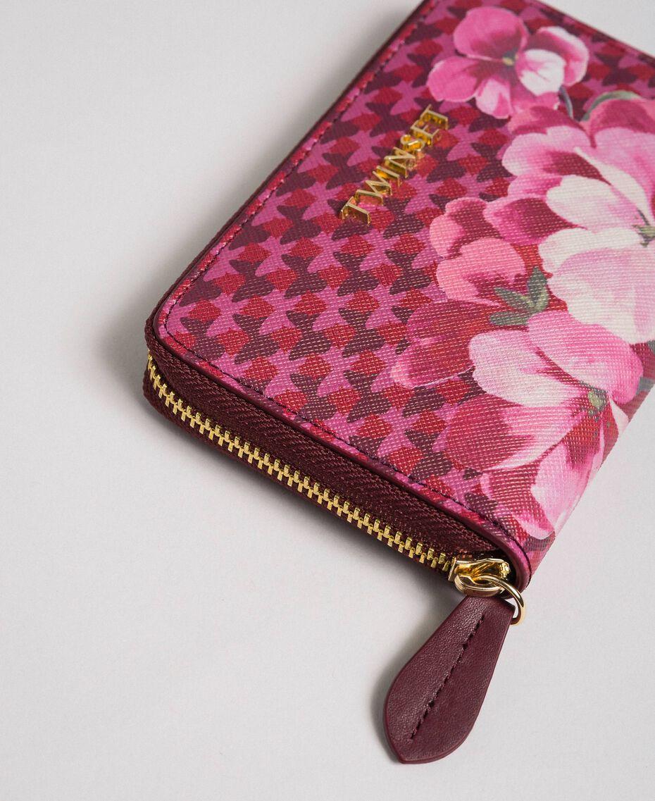 Portafoglio piccolo in similpelle stampata Stampa Fiori Farfalla Rosso Beet Donna 192TA701A-01