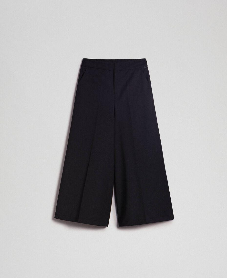 Cropped-Hose aus Wolle Schwarz Frau 192TP2352-0S