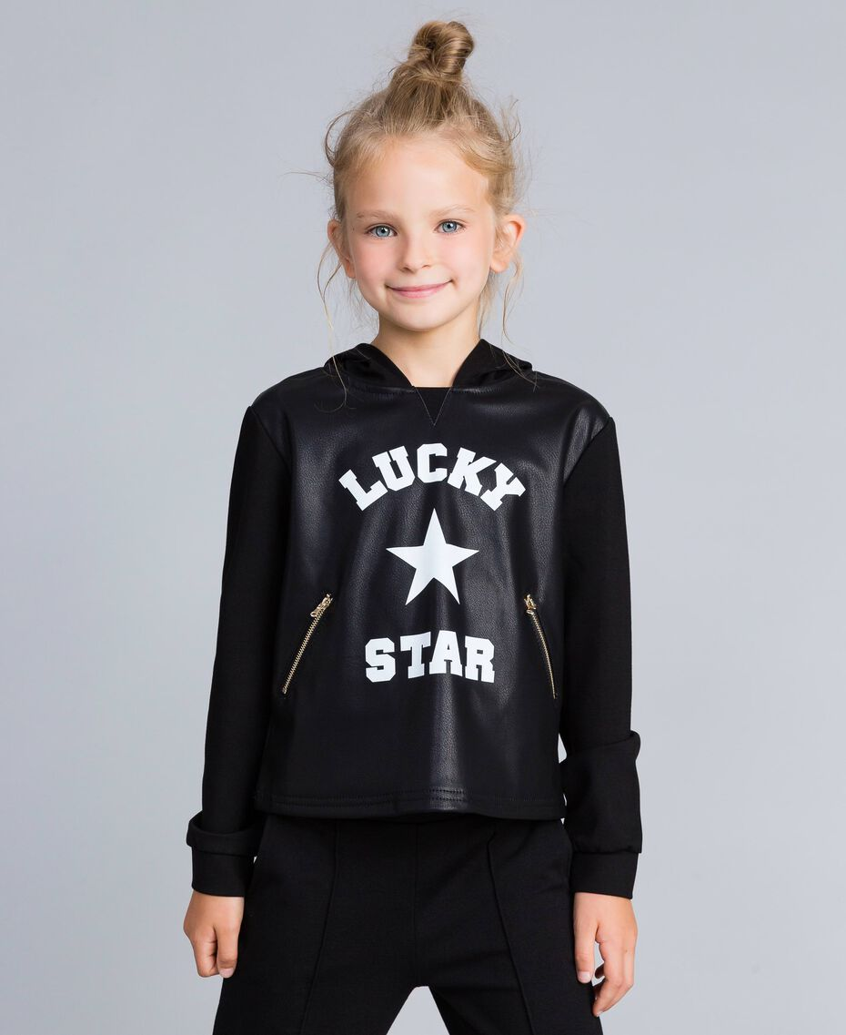 Milan stitch faux leather sweatshirt Black Child GA82LV-02
