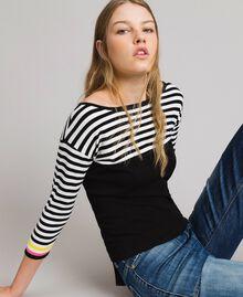 Jersey de rayas con broche en forma de lazo Bicolor Negro / Blanco Mujer 191MP3055-03
