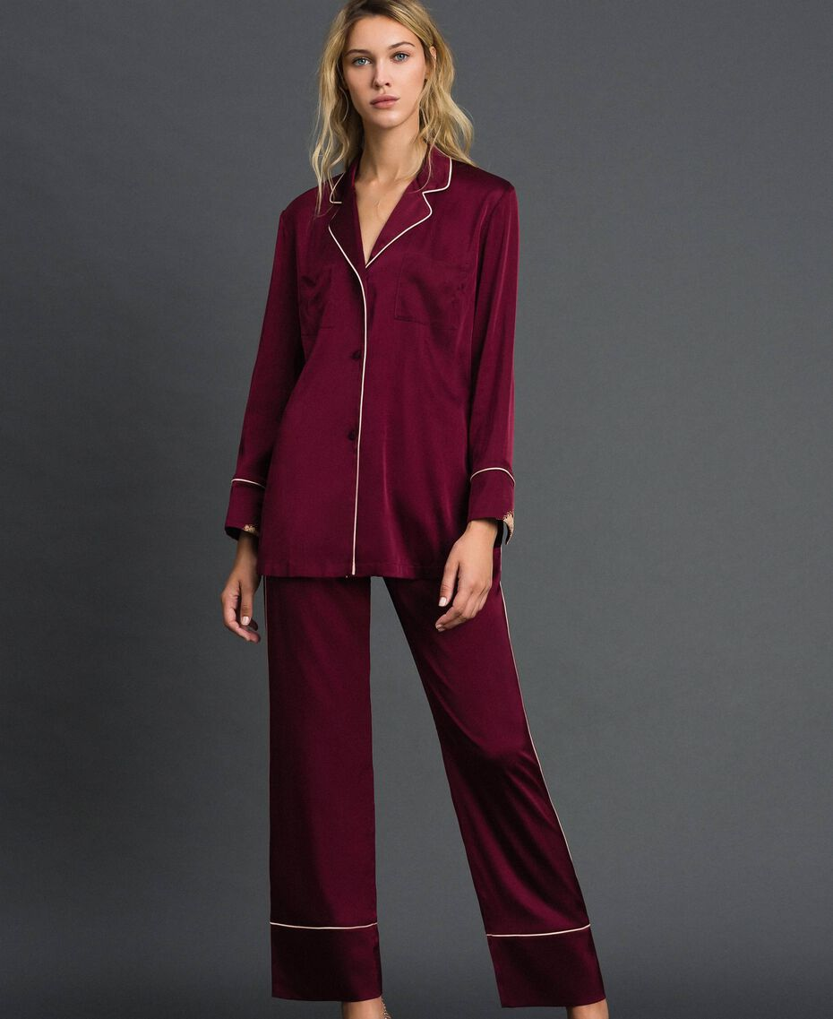 Satin tunic with lace Purple Red Woman 192LL2DJJ-01