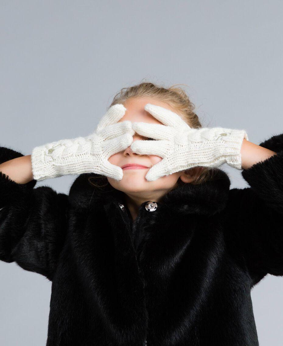 Strickhandschuhe mit Zopfmuster Mattweiß Kind GA8GA1-0S