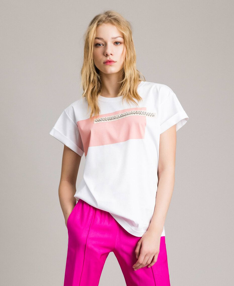 """Printed and embroidered T-shirt Two-tone Optical White / """"Macaron"""" Pink Woman 191TP2294-02"""