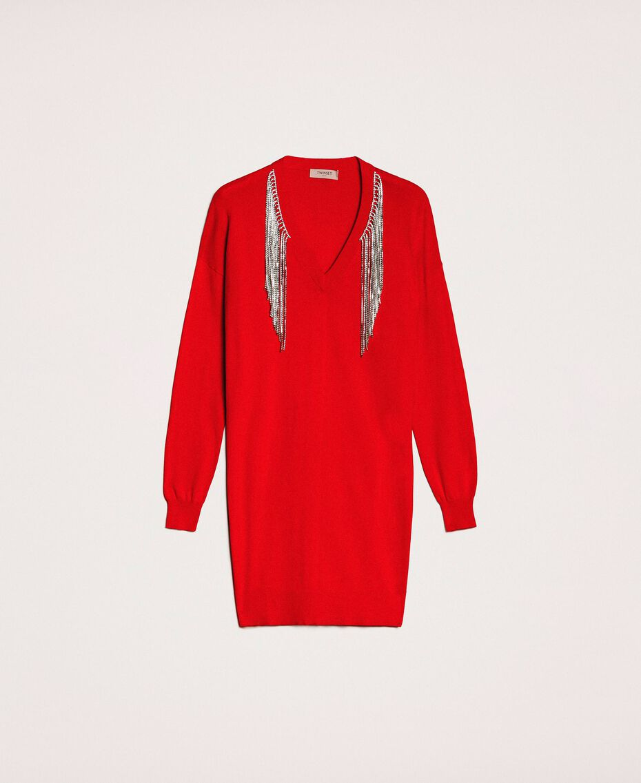 """Dress with rhinestone fringes """"Lava"""" Red Woman 201TP3080-0S"""