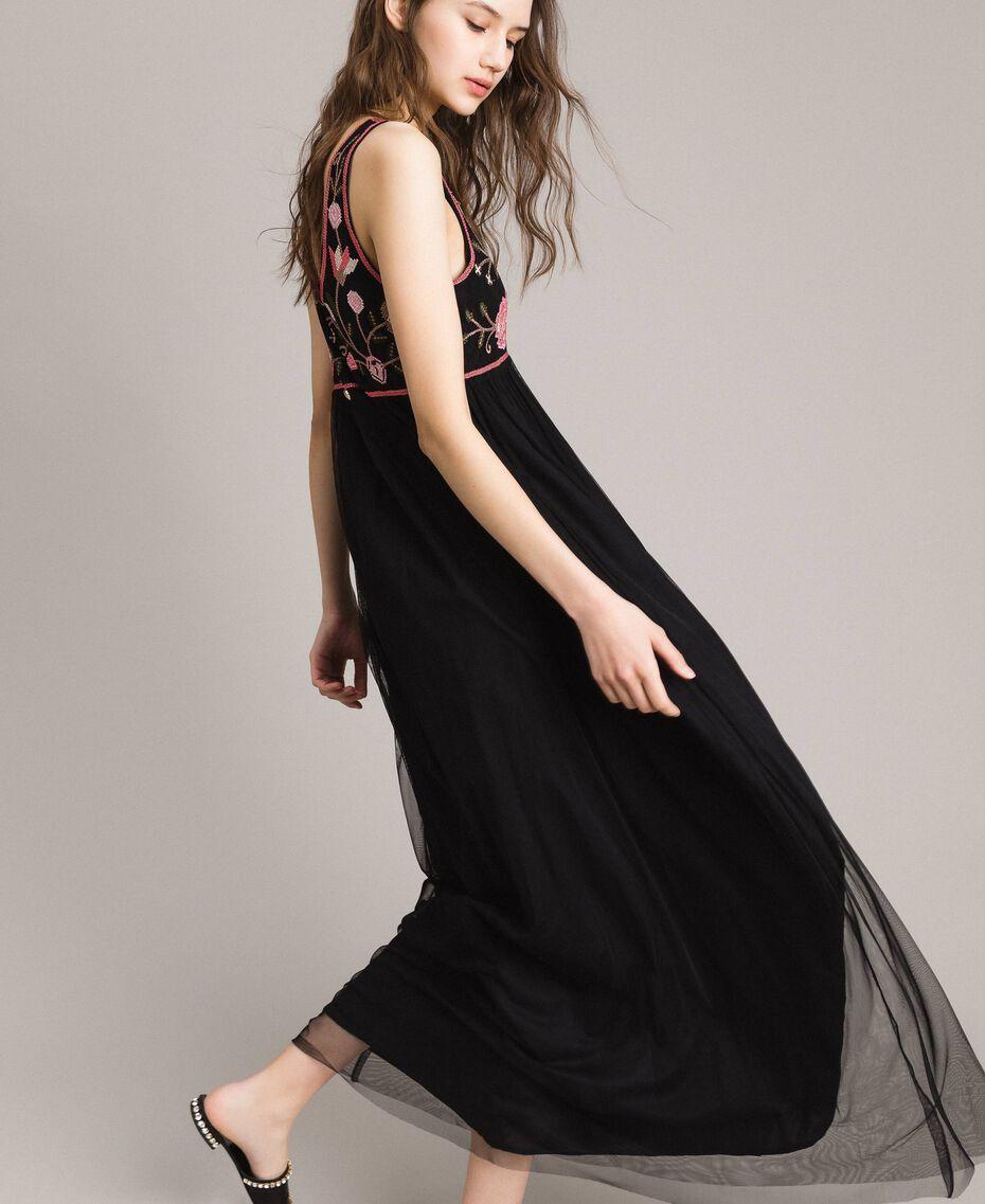 Robe longue en tulle avec broderie Noir Femme 191MT2260-02