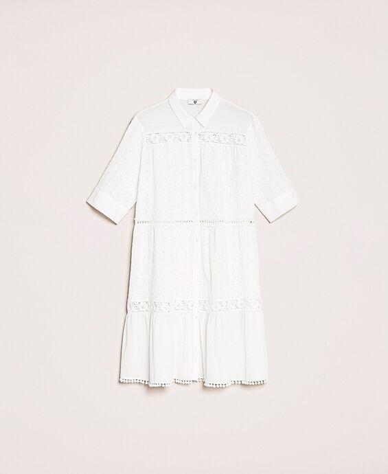 Платье-рубашка из ткани с шитьем Сангалло и кружевом