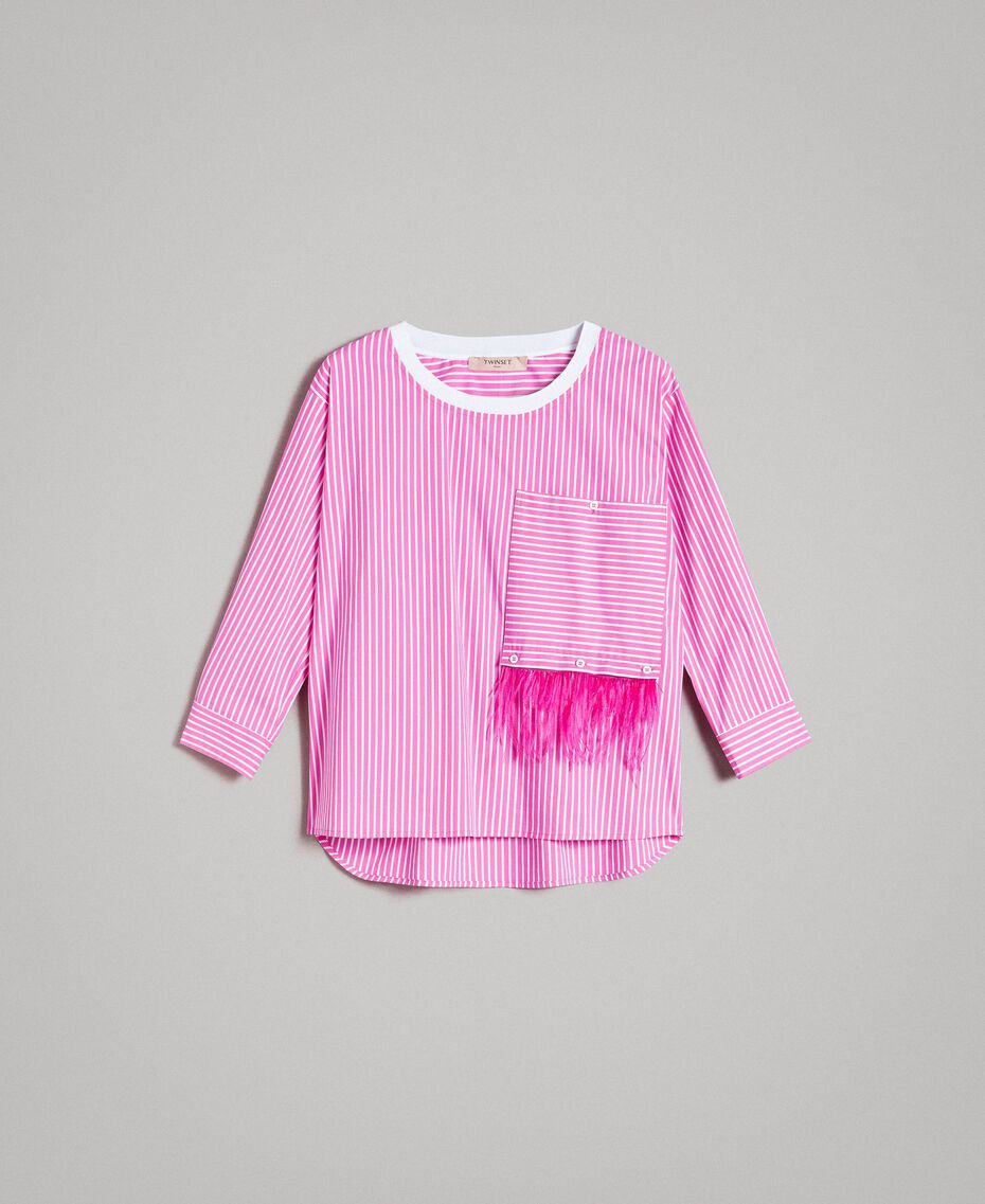 "Striped poplin blouse with feathers Optical White / ""Electric Pink"" Striping Woman 191TP2311-0S"