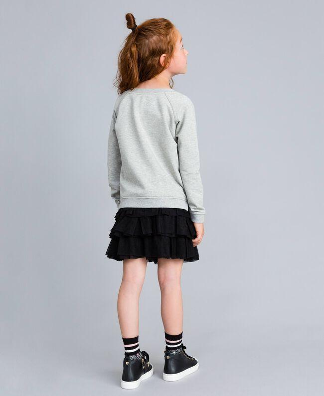 Maxisweatshirt aus Viskose Hellgrau-Mélange Kind GA82R1-03