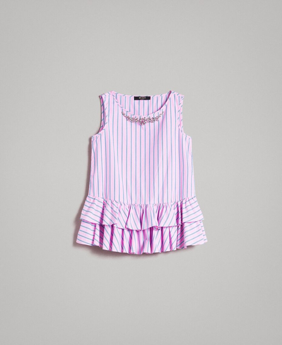Striped poplin top with flounces Hydrangea Pink Woman 191MP2041-0S