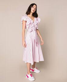 Robe mi-longue en popeline à rayures Jacquard Rayures Bâton Rose «Bonbon» Femme 201ST202J-02