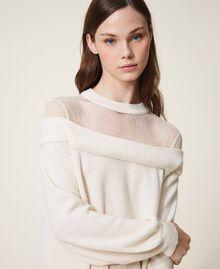 Длинная трикотажная кофта из смесовой шерсти с тюлем Бело-кремовый женщина 202MP3092-04