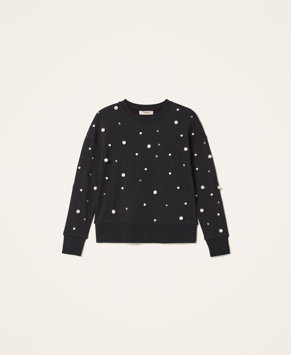 Sweatshirt with pearl embroidery Black Woman 202TT2T51-0S