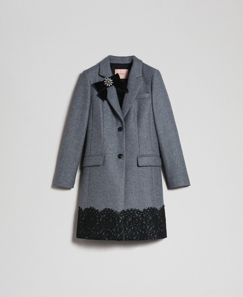 Wool cloth coat with lace Medium Gray Mélange Woman 192TP2314-0S